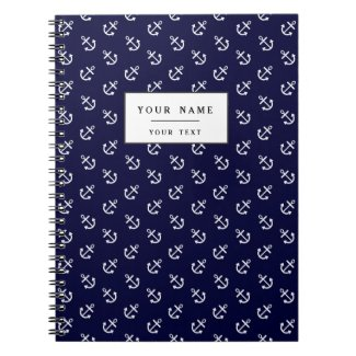 White Anchors Navy Blue Background Pattern