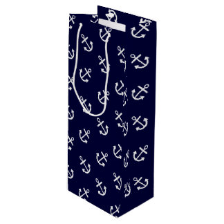 White Anchors Navy Blue Background Pattern Wine Gift Bag