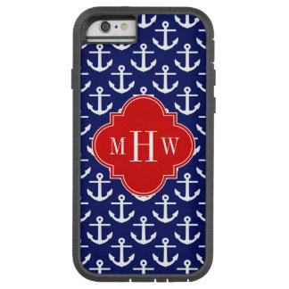 White Anchors Navy Blue, Red 3 Initial Monogram Tough Xtreme iPhone 6 Case