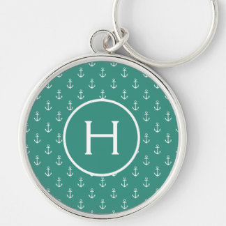 White Anchors on Gypsy Teal Monogram Key Ring
