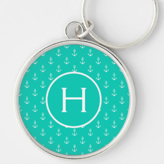 White Anchors on Island Sea Monogram Key Ring