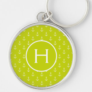 White Anchors on Lime Green Monogram Key Ring