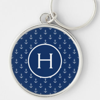 White Anchors on Navy Blue Monogram Key Ring