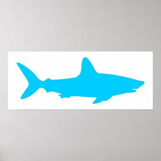 White and Aqua Blue Shark Print