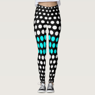White and Aqua Polka Dot Pattern Leggings