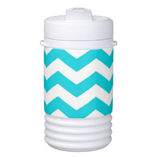 White and Aqua Zig Zag Pattern Drinks Cooler