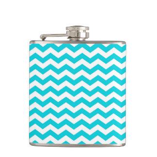White and Aqua Zig Zag Pattern Flasks