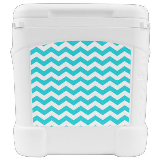 White and Aqua Zig Zag Pattern Rolling Cooler