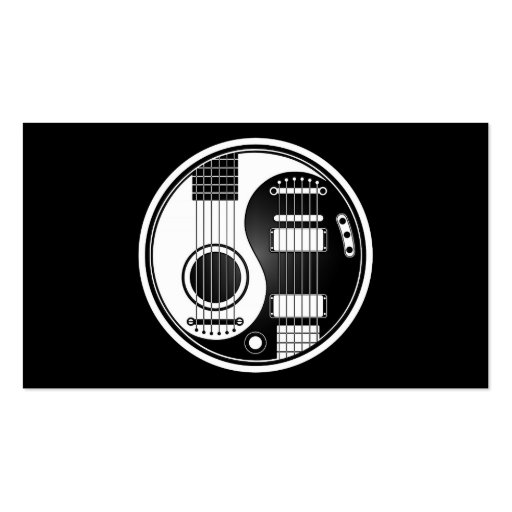 Premium music business card templates page18 white and black acoustic electric guitars yin yang business cards colourmoves