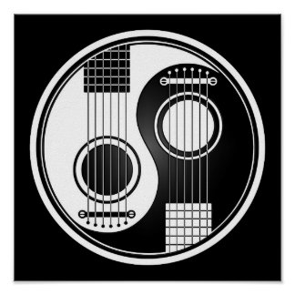 White and Black Acoustic Guitars Yin Yang Poster