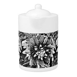 White and Black Cactus Tea Pot