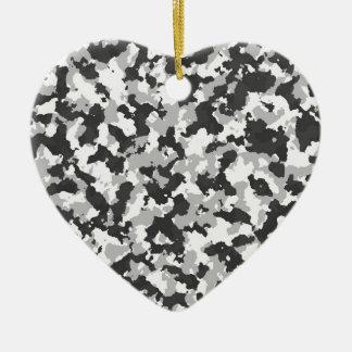 White and Black Camo pattern Ceramic Heart Decoration