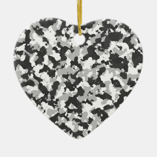 White and Black Camo pattern Christmas Ornament