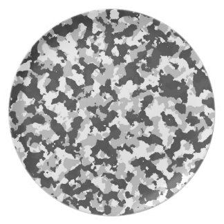 White and Black Camo pattern Plate