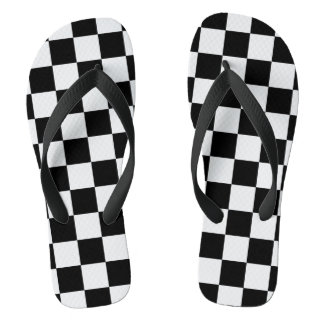 White and Black Checkered | DIY Background Color Flip Flops