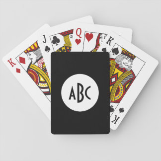 White and Black Circle Monogram Playing Cards