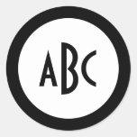 White and Black Circle Monogram Round Stickers