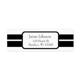 White and Black Classy  Return Address Sticker Return Address Label