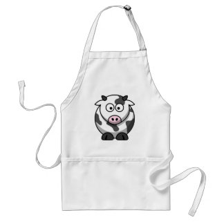 White and black cow adult apron