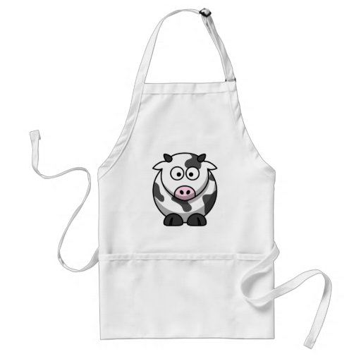 White and black cow aprons