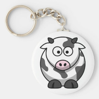White and black cow basic round button key ring