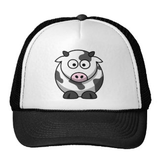 White and black cow hat