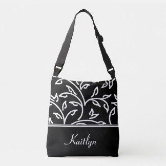 White and Black Decorative Vines | Personalized Crossbody Bag