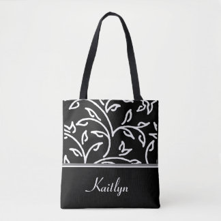 White and Black Decorative Vines | Personalized Tote Bag