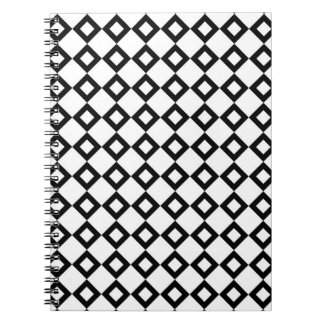 White and Black Diamond Pattern Spiral Notebook