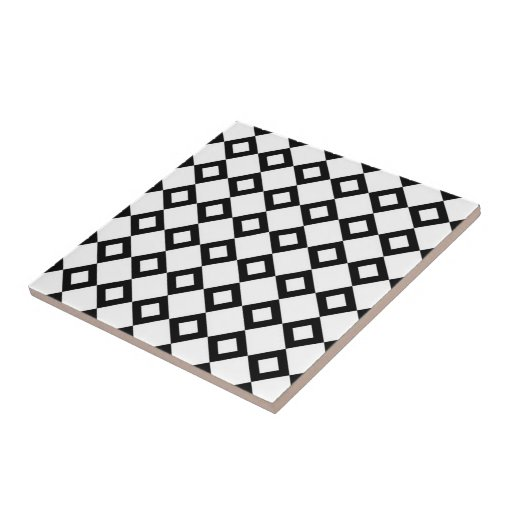 White and Black Diamond Pattern Ceramic Tile