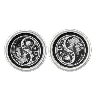 White and Black Dragon Phoenix Yin Yang Cufflinks