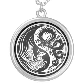 White and Black Dragon Phoenix Yin Yang Silver Plated Necklace