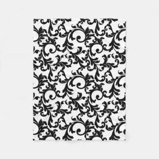 White and Black Elegant Damask Print Fleece Blanket