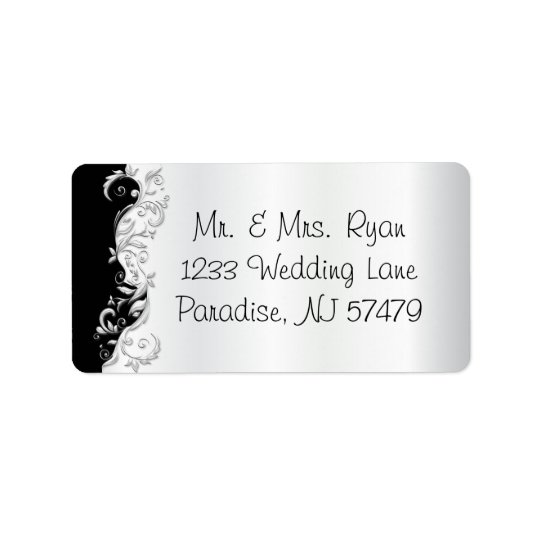 White and Black Florid Ornate Address Label