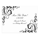 White and Black Flourish Save The Date Post Cards