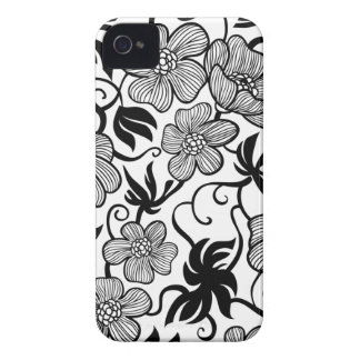 White and black flowers stylish iphone 4 case mate