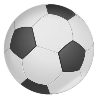 White and Black Football Melamine Plate