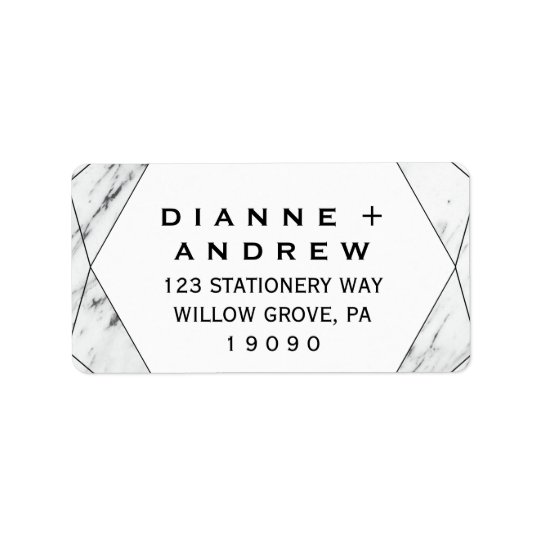 White and Black Geometric Marble Wedding Address Label