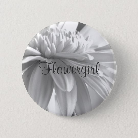 White and Black Gerber Daisy Flowergirl Button