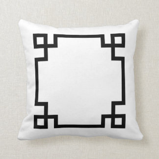 White and Black Greek Key Cushion