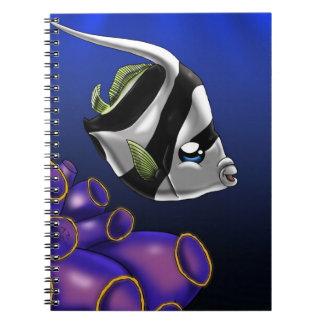 White and Black Heniochus Notebook Spiral Note Books