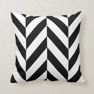 White and Black Herringbone Design Cushion
