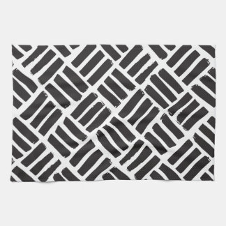 White and Black Ink Strokes Grid Towel