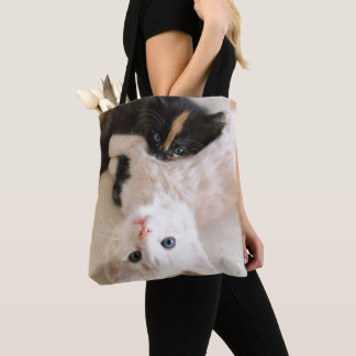 White And Black Kittens Tote Bag