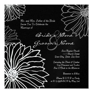 White and Black Mum Flowers Wedding Invitation