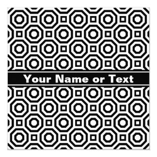 White and Black Nested Octagon Invitation