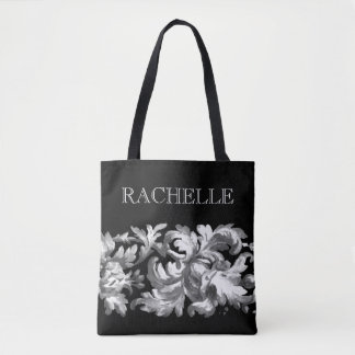 White and Black Painted Baroque Border with Name Tote Bag