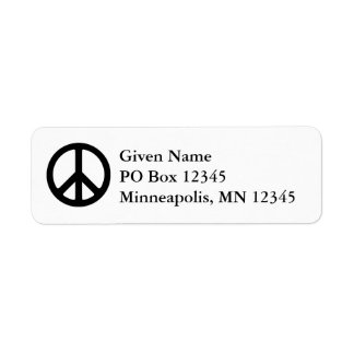 White and Black Peace Symbol Return Address Label