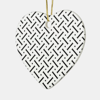 White And Black Plaid Ceramic Heart Decoration
