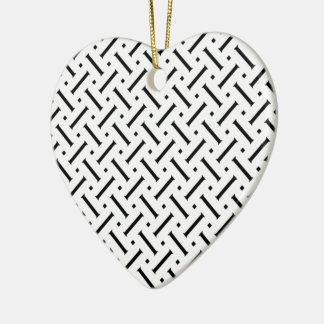 White And Black Plaid Christmas Ornament